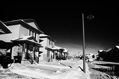 suburbian houses covered in snow during bright crisp winter day Saskatoon Saskatchewan Canada Art Print