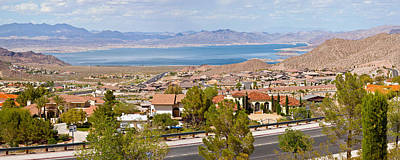 Suburbs And Lake Mead With Surrounding Art Print by Panoramic Images