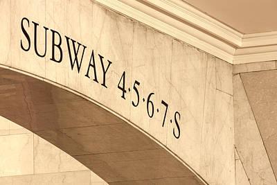 7 Train Photograph - Subway 4 5 6 7 S by Susan Candelario