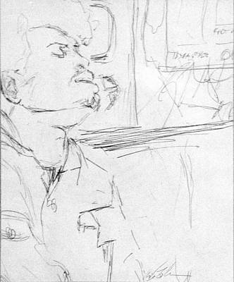 Judaica Drawing - Subway Commuter by Phil Welsher