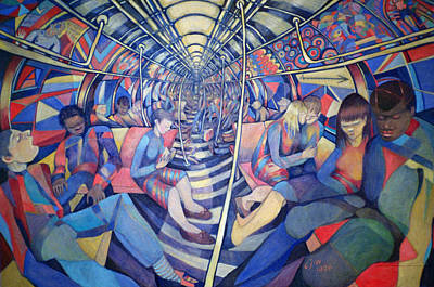 Subway Nyc, 1994 Oil On Canvas Art Print by Charlotte Johnson Wahl