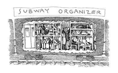 Pigeon Drawing - Subway Organizer by John O'Brien