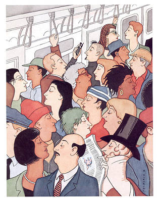 Digital Art - Subway Riders All Resemble Eustace Tilley by R Sikoryak