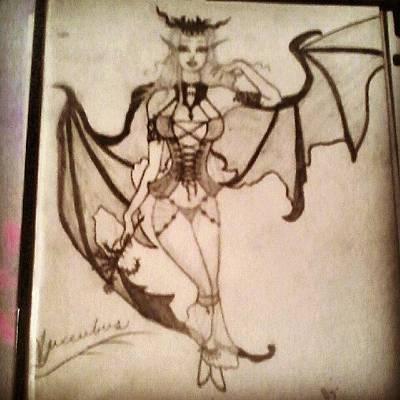 Succubus Drawing - Succubus Sketch  by Sable Davenport