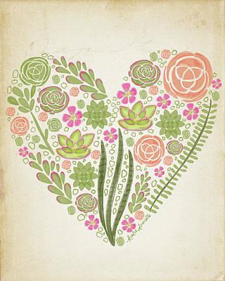 Succulents Painting - Succulent Heart by Katie Doucette