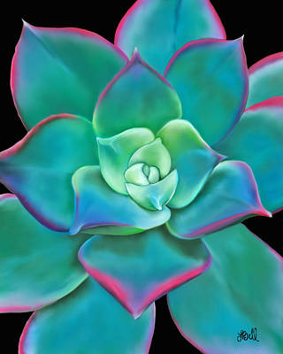 Kiwi Painting - Succulent Aeonium Kiwi by Laura Bell