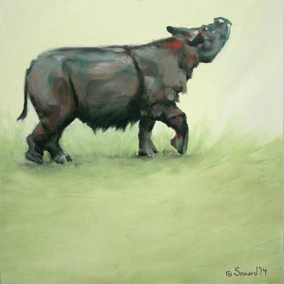 Asian Rhino Painting - Suci Sumatran Rhino by Sarah Soward