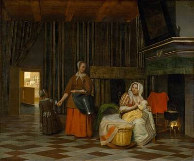 Suckling Painting - Suckling Mother And Maid by Pieter de Hooch