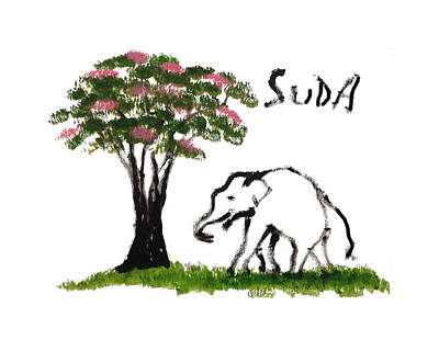Print - Elephant Paintings - Just Me Pink Version Art Print by Phongsri Smeaton