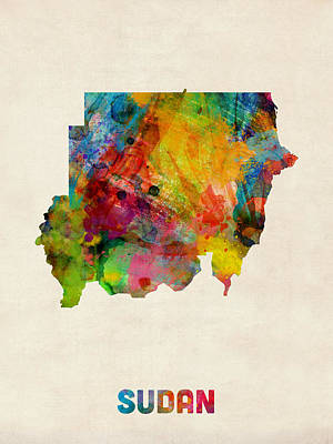 Digital Art - Sudan Watercolor Map by Michael Tompsett