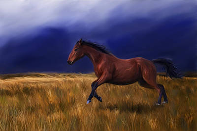 Bay Thoroughbred Horse Painting - Galloping Horse Painting by Michelle Wrighton