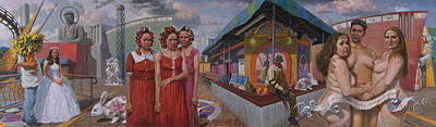 Amusement Parks Painting - Sudenly It Was All Reveled To The Abreu Sisters by Alfredo Arcia