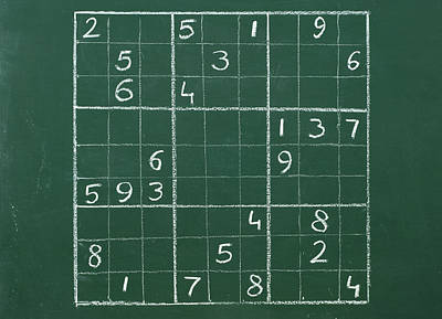 Crazing Photograph - Sudoku On A Chalkboard by Chevy Fleet