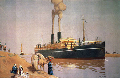 Liner Painting - Suez Canal, 1927 by Granger