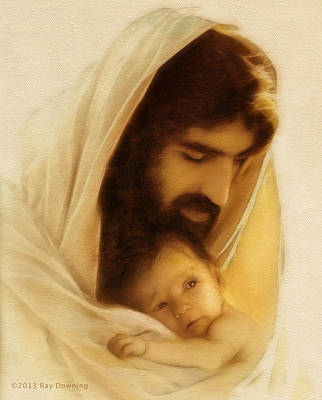 Jesus Face Digital Art - Suffer The Little Children by Ray Downing