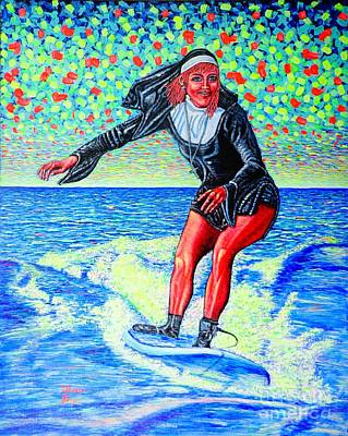 Surfing Nun /god-is Love ...love-is Life/ Art Print by Viktor Lazarev
