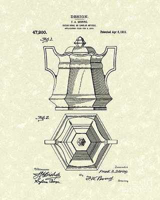 Sugar Drawing - Sugar Bowl 1915 Patent Art by Prior Art Design