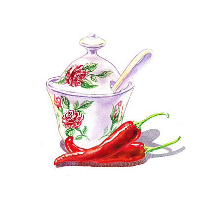 Sugar Bowl And Chili Peppers Art Print by Irina Sztukowski