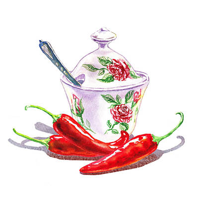 Sugar Bowl With Chili Peppers Art Print by Irina Sztukowski