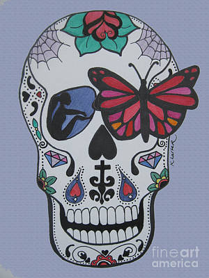 Sugar Skull Girl Drawing - Sugar Candy Skull Blue by Karen Larter