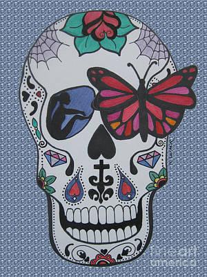 Sugar Skull Girl Drawing - Sugar Candy Skull Bubbles by Karen Larter