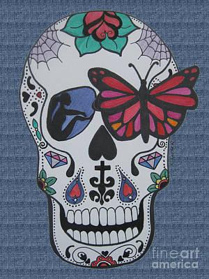 Sugar Skull Girl Drawing - Sugar Candy Skull Denim by Karen Larter