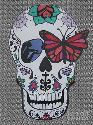 Sugar Skull Girl Drawing - Sugar Candy Skull Grey by Karen Larter