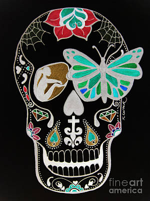 Sugar Skull Girl Drawing - Sugar Candy Skull Neon by Karen Larter