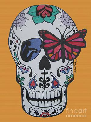 Sugar Skull Girl Drawing - Sugar Candy Skull Orange by Karen Larter