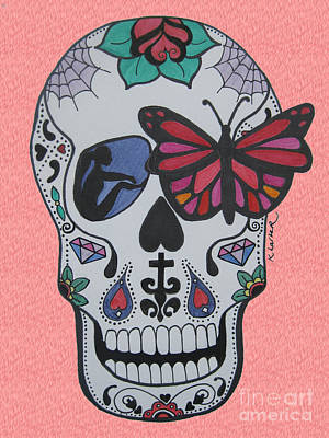 Sugar Skull Girl Drawing - Sugar Candy Skull Pink by Karen Larter