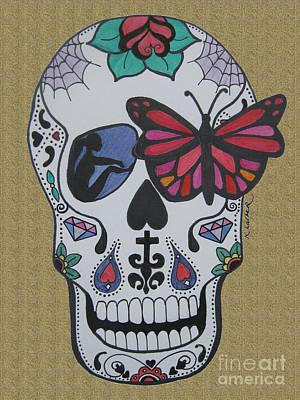 Sugar Skull Girl Drawing - Sugar Candy Skull Sand by Karen Larter