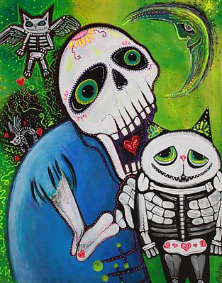 Skulls Painting - Sugar Cat Guardians by Laura Barbosa