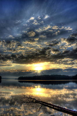 Photograph - Sunrise Reflections Sugar Creek Sunrise On Lake Oconee by Reid Callaway