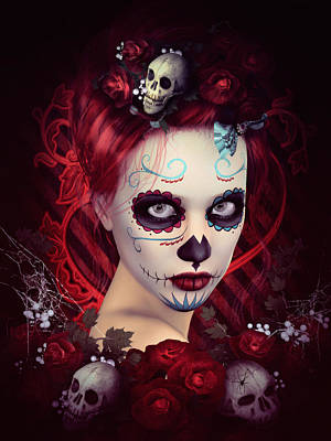 Mexican Digital Art - Sugar Doll Red by Shanina Conway