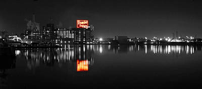 Photograph - Sugar Glow - Classic Iconic Domino Sugars Neon Sign, Inner Harbor Baltimore, Maryland - Color Splash by William Bartholomew