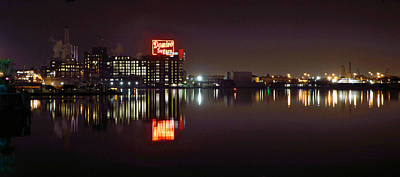 Photograph - Sugar Glow - Classic Iconic Domino Sugars Neon Sign, Inner Harbor Baltimore, Maryland by William Bartholomew
