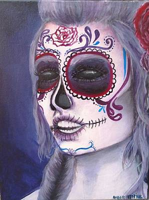 Rose And Skull Painting - Sugar Skull by Amber Hepting