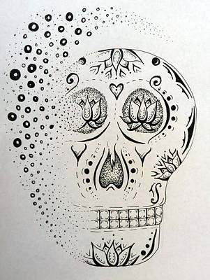 Sugar Skull Drawing - Sugar Skull by E White