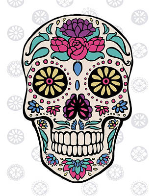 Sugar Skull IIi On Gray Art Print by Janelle Penner