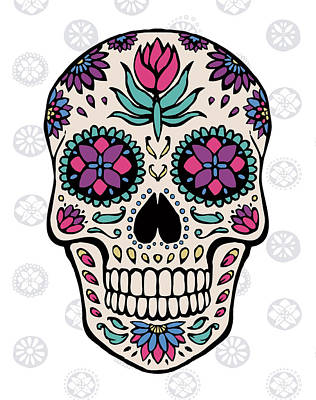 Sugar Skull Iv On Gray Art Print by Janelle Penner