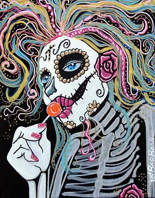 Mardi Gras Painting - Sugar Skull Lollipop by Laura Barbosa