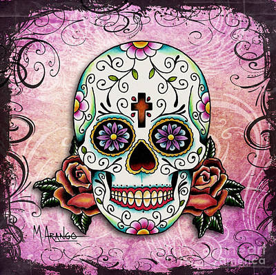 Mixed Media - Sugar Skull by Maria Arango