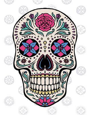 Sugar Skull On Gray Art Print by Janelle Penner