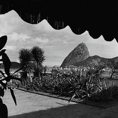 Black And White Photograph - Sugarloaf Mountain Seen From The Patio At Carlos by Luis Lemus