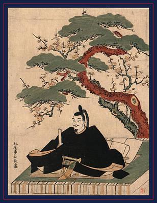 Plum Drawing - Sugawara No Michizane, Kitao Between 1769 And 1772 by Shigemasa (fl.1801-29), Japanese