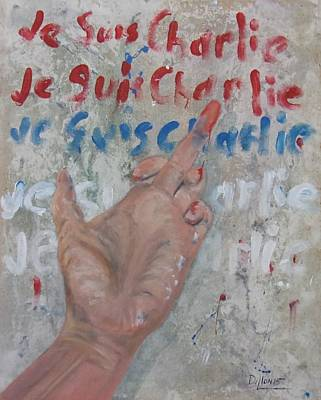Free Speech Painting - Je Suis Charlie Finger Painting To Al Qaeda by Michael Dillon