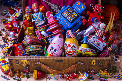 Tin Planes Photograph - Suitcase Full Of Old Toys by Garry Gay