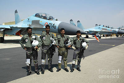 Sukhoi Photograph - Sukhoi Su-30 Pilots From The Indian Air by Riccardo Niccoli