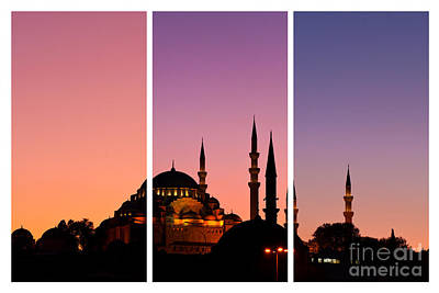 Photograph - Suleymaniye Sundown Triptych 01 by Rick Piper Photography
