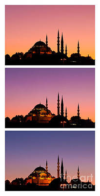 Photograph - Suleymaniye Sundown Triptych 03 by Rick Piper Photography